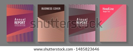 Brochure cover layouts halftone vector set. Cool triangles compositions. Elegant commercial covers geometry set. Magic notebook frameworks. Editable web landing page graphics.