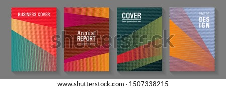 Brochure cover layouts halftone vector set. Creative leaflet backdrops. Poster linear minimalistic Eps10 vectors. Hipster art covers geometry set. Laconic corporate style.