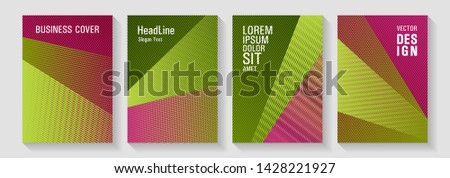 Brochure cover layouts halftone vector set. Party invitation flyer cool backgrounds. Digital stylish outlet backdrops. Futuristic publication papers. Future dynamic covers geometry set.
