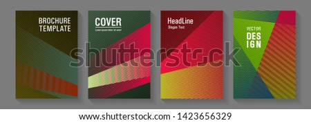 Brochure cover layouts vector geometrics. Thin stripes blend covers design set. Technological 2d backdrops. Flyer mix digital background blends. Laconic corporate style.