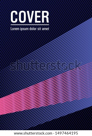 Brochure cover page layout geometric vector design. Advanced technological concept. Educational brochure cover template. Lines gradient texture booklet layout. Trendy magazine backdrop.