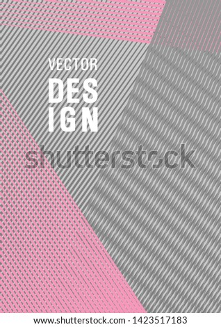 Brochure cover page layout geometric vector design. Corporate branding leaflet. Cover template with logo place. Digital stylish outlet backdrop. Lines gradient texture booklet layout.