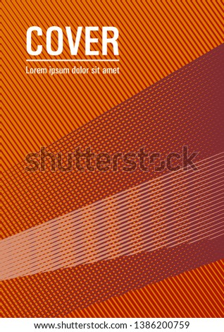 Brochure cover page layout halftone vector design. Vibrant gradient book backdrop. Banner backdrop simple print idea. Fashionable branding cover design. Bright business report concept.