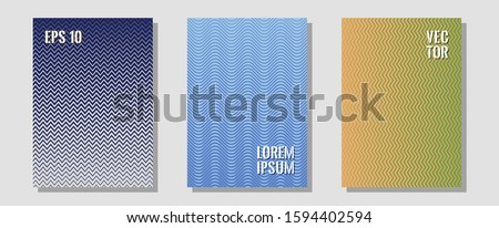 Brochure covers, posters, banners vector templates. Musical album adverts. Zigzag halftone lines wave stripes backdrops. Trendy magazines. Geometric graphic design for booklet brochure covers.