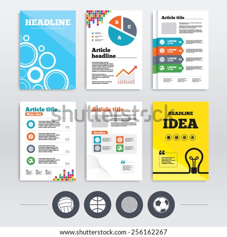 Brochure design and A4 flyers. Sport balls icons. Volleyball, Basketball, Soccer and Golf signs. Team sport games. Infographics templates set. Vector