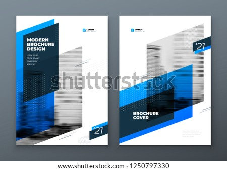 Brochure design. Blue corporate business template brochure, report, catalog, magazine. Brochure layout modern with dynamic shape abstract background. Creative brochure vector concept