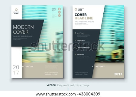 Brochure design. Corporate business template for annual report, catalog, magazine. Layout with modern biege elements and urban style photo. Creative poster, booklet, leaflet, flyer or banner concept