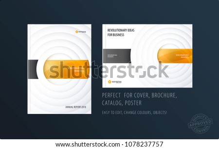 Brochure design paper-cut template. Colourful creative abstract set, annual report with circles shadows for branding.