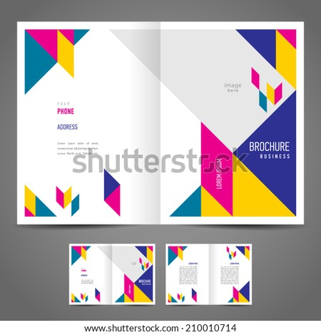 brochure design template booklet abstract figure colored