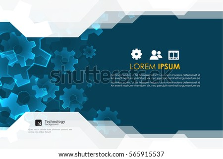 Brochure design template. Gear technology background. #565915537
