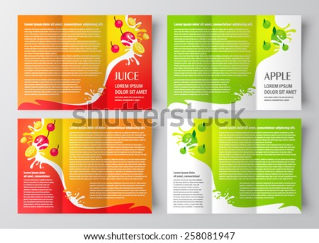 Brochure design template juice fruit drops liquid orange for Apple brochure templates