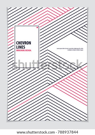 Brochure Design Template minimal design. Modern Geometric Abstract pattern vector background. Striped line textured geometric illustration. A4 print format.