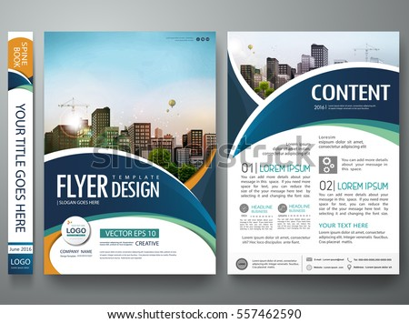 Brochure design template vector. Abstract circle cover book blue portfolio minimal presentation poster. City concept in A4 layout. Green flyers report business magazine.