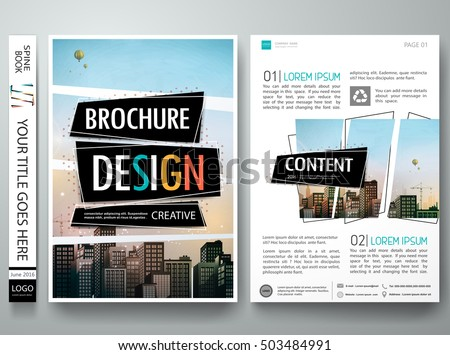 Brochure design template vector. Abstract square cover book minimal portfolio presentation poster. City concept in A4 layout. Flyers report business magazine.