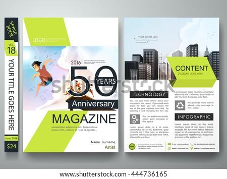 Brochure Design Template Vector. Business Flyers Report Magazine. Cover  Book Portfolio Summer Presentation Green