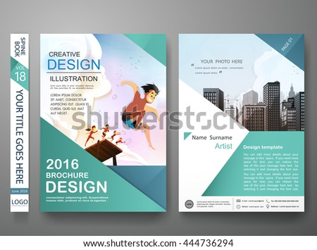 Brochure design template vector. Business flyers report magazine poster. Cover book portfolio presentation and green shape. Summer and city concept in a4 layout.