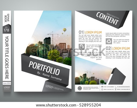 Brochure design template vector. Business flyers report minimal portfolio magazine. Cover book presentation gray black shape in poster. City concept in a4 layout.