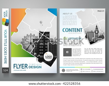 Brochure design template vector. Flyers annual report business magazine poster and portfolio. Leaflet cover book presentation. Abstract minimal jigsaw pattern and flat city. Layout in A4 size.