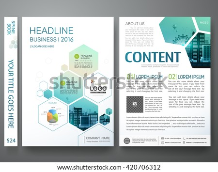 Brochure design template vector. Flyers annual report business magazine poster. Leaflet cover book portfolio presentation with abstract minimal blue hexagon and flat city. Layout in A4 size.