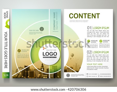 Brochure design template vector. Flyers report business infographic magazine poster. Abstract circle and city. Green presentation portfolio. Minimal cover book in a4 size layout.