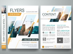 Brochure design template vector. Flyers report business magazine poster minimal portfolio. Abstract square in cover book presentation. City concept in A4 layout.