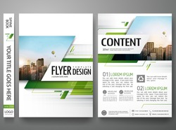 Brochure design template vector. Green abstract square cover book portfolio presentation poster in A4 layout. Flyers report business magazine.