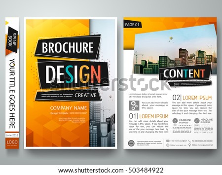 Brochure design template vector. Orange abstract geometric cover book portfolio presentation poster. City concept in A4 layout. Flyers report business magazine.