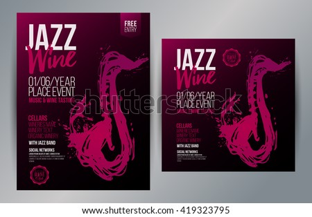 Brochure design template with hand drawing saxophone and wine stains. Music and wine concept. Vector