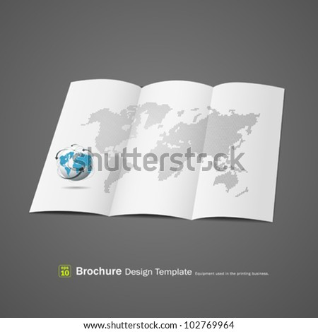 Brochure design with globe and world map. vector illustration