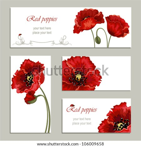 Brochure designs with red poppies and ladybugs