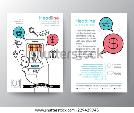 Brochure Flyer design Layout template in A4 size with digital marketing concept online shopping smart phone mobile payment