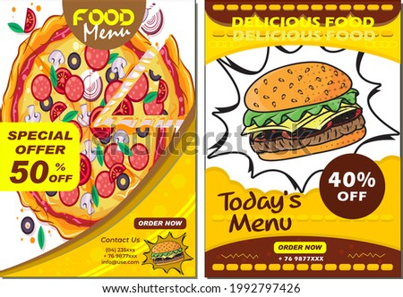 Brochure, flyer design template in A4 size. Vector illustration for food and beverage marketing, advertisement, product presentation template, cover design.