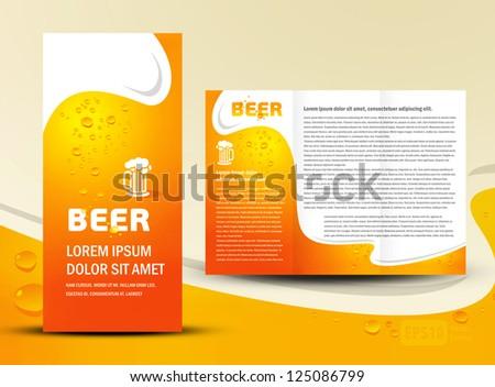 brochure folder card beer bar element design / cmyk, no transparent