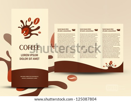 brochure folder card coffee beans element design - stock vector