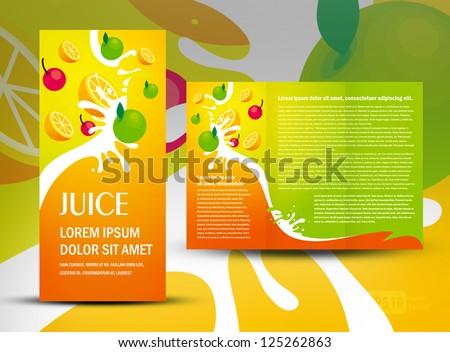 brochure folder juice fruit drops liquid orange green apple element design / cmyk, no transparent