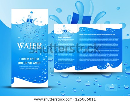 brochure folder water aqua splash bottle element design / cmyk, no transparent