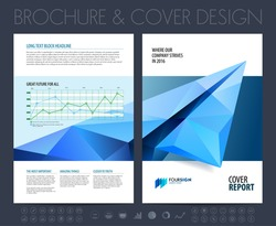 Brochure layout, flyer and cover design template with polygonal paper plane graphics. Vector illustration.