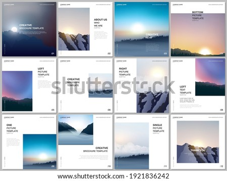 Brochure layout of square covers templates for square flyer leaflet, brochure design, presentation, magazine. Fog, sunrise in morning and sunset in evening. Nature landscape backgrounds with mountains Stockfoto ©