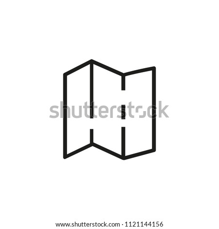 Brochure line icon. Booklet, trifold, leaflet, map. Paper concept. Can be used for topics like print, typography, advertising