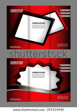 Brochure mock up design template for business, education, advertisement. Trifold booklet editable printable vector illustration.   #395414440