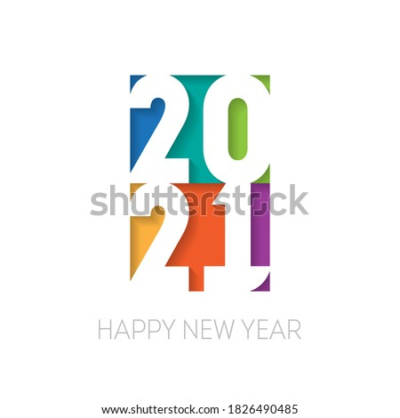 Brochure or calendar cover design template. Happy new year 2021, vertical banner. Vector Cover of business diary for 20 21 with wishes.