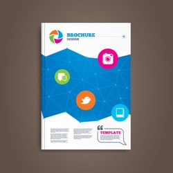 Brochure or flyer design. Social media icons. Chat speech bubble symbol. Hipster photo camera sign. Messages twitter retweet and empty photo frames. Book template. Vector