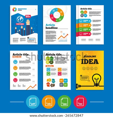 Brochure or flyers design. Download document icons. File extensions symbols. PDF, XLS, JPG and ISO virtual drive signs. Business poll results infographics. Vector