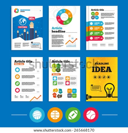 Brochure or flyers design. Sport balls icons. Volleyball, Basketball, Baseball and American football signs. Team sport games. Business poll results infographics. Vector