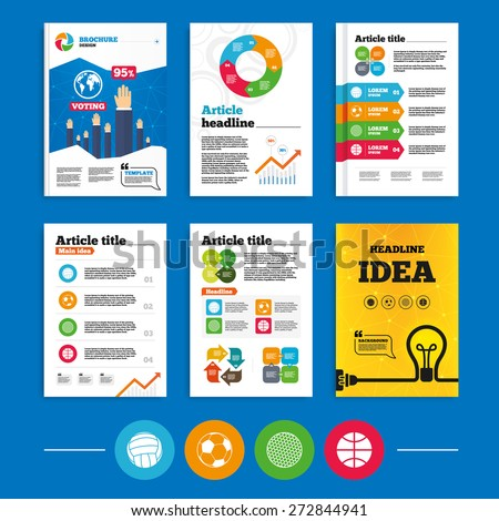Brochure or flyers design. Sport balls icons. Volleyball, Basketball, Soccer and Golf signs. Team sport games. Business poll results infographics. Vector