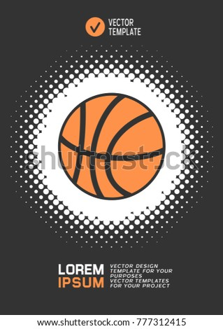 Brochure or web banner design with basketball icon