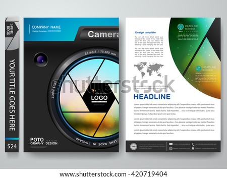 Brochure portfolio design template vector. Flyers report business magazine poster. Cover book or presentation about photography with lens camera. Layout in A4 size.