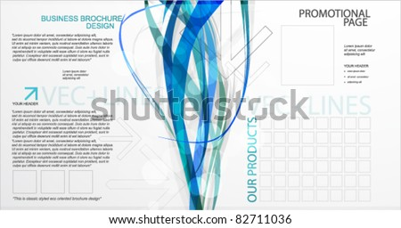 Brochure template. Abstract blue lines