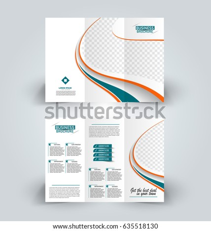 Brochure template. Business trifold flyer.  Creative design trend for professional corporate style. Vector illustration. Orange and green color. #635518130