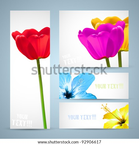 Brochure template card. Spring flowers poster